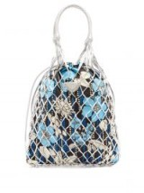 PRADA Netted silver-leather floral-print bag ~ luxe retro shopper