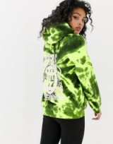 New Girl Order boyfriend hoodie with alien graphic in tie dye in lime-green / printed hoodies