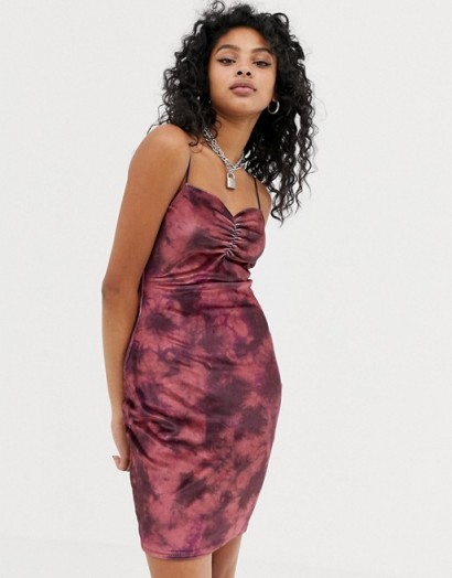 New Girl Order cami bodycon dress in red tie dye velvet