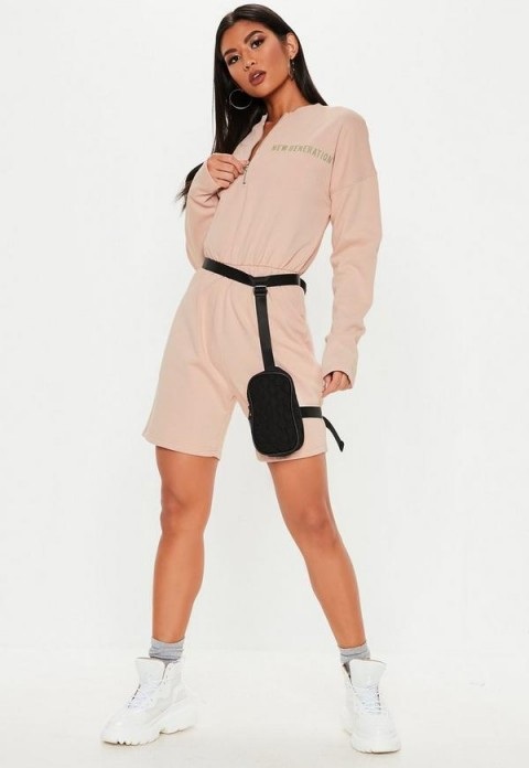 MISSGUIDED nude new generation zip front playsuit ~ sporty pale-pink playsuits
