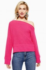 Topshop Off Shoulder Cropped Jumper with Cashmere in Bright Pink | luxe style knitwear