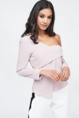 LAVISH ALICE off the shoulder layered top in nude – asymmetric evening tops