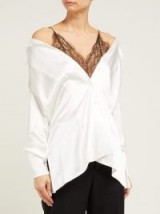MAISON MARGIELA Off-the-shoulder white silk and black lace blouse ~ contemporary clothing