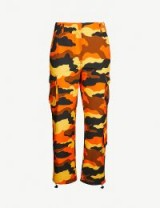 OFF-WHITE C/O VIRGIL ABLOH Camouflage-print high-rise straight cotton cargo trousers in orange / cuffed camo pants