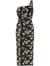 OFF-WHITE floral print bodycon midi dress / one shoulder design