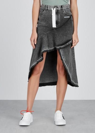OFF-WHITE Grey faded denim skirt | asymmetric ruffle trimmed skirts