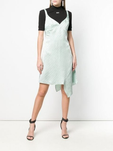 OFF-WHITE monogram print dress in light-green / designer logo prints