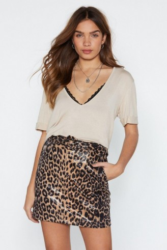NASTY GAL Oh You're Moving Too Fast Leopard Skirt in brown ~ high-shine animal prints