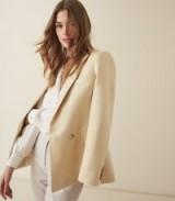 REISS OLIVIA SATIN TWILL TAILORED BLAZER LEMON ~ pale-yellow jackets