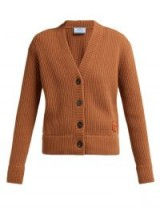 PRADA Oma logo-patch ribbed brown wool-blend cardigan ~ chunky designer cardi