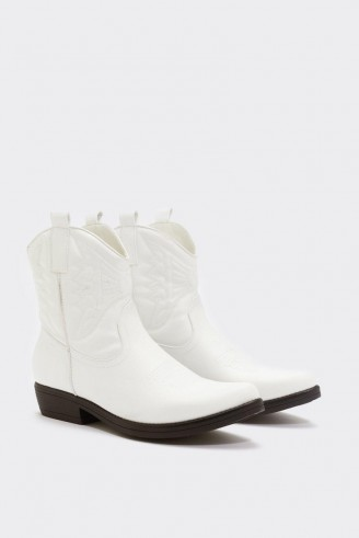 NASTY GAL On My West Behavior Western Boot in white ~ faux leather cowboy boots