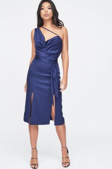 LAVISH ALICE one shoulder cowl neck double split satin midi dress in navy – blue front slit party dresses - flipped