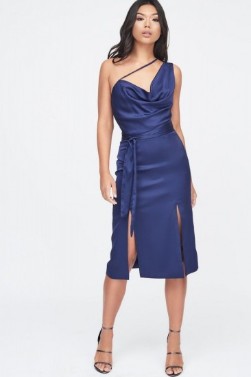 LAVISH ALICE one shoulder cowl neck double split satin midi dress in navy – blue front slit party dresses