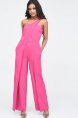 LAVISH ALICE one shoulder wrap over wide leg jumpsuit in pink – going out jumpsuits