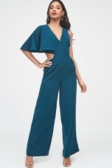 LAVISH ALICE one sleeve cutout wide leg jumpsuit in forest green ~ cut-out party fashion
