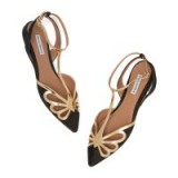 Tabitha Simmons OPAL FLATS in Black / Gold | strappy pointed flat shoes