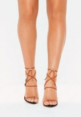 MISSGUIDED orange rope pointed toe heeled sandals ~ strappy heels