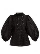 ROCHAS Oriana tie-neck black sangallo-lace blouse ~ balloon sleeve blouses