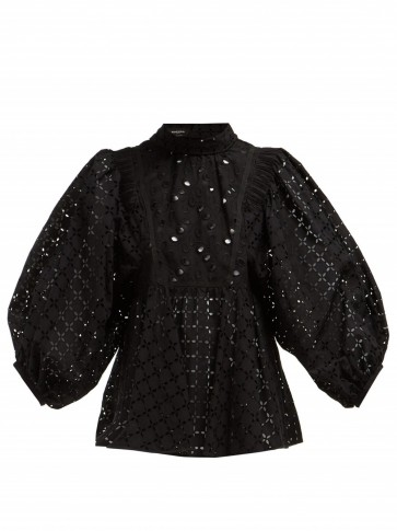 ROCHAS Oriana tie-neck black sangallo-lace blouse ~ balloon sleeve blouses