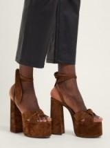SAINT LAURENT Paige platform brown suede sandals ~ 70s vintage style