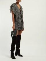 SAINT LAURENT Paisley-print ruffled silk georgette mini dress in black ~ feminine style dresses
