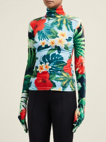 RICHARD QUINN Palm-print high-neck blue velvet top ~ tropical floral top