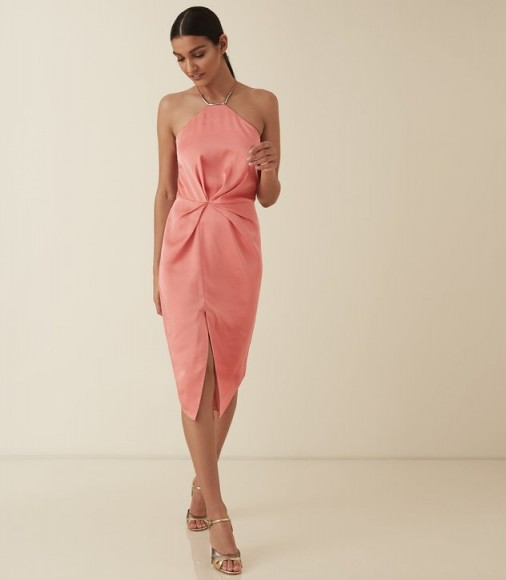 REISS PAOLA HALTER NECK COCKTAIL DRESS CORAL ~ party elegance