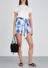 PAPER LONDON Horice blue tie-dye silk shorts