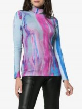 Paskal Tie Dye Turtleneck Top in blue and purple / fitted high neck tops
