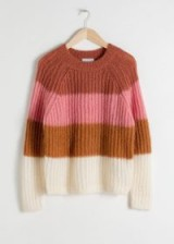 & other stories Pastel Striped Wool Blend Sweater in Neapolitan Stripe | chunky crew neck