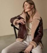 Reiss PAYTON PATENT SHEARLING AVIATOR JACKET OXBLOOD | vintage style winter jackets