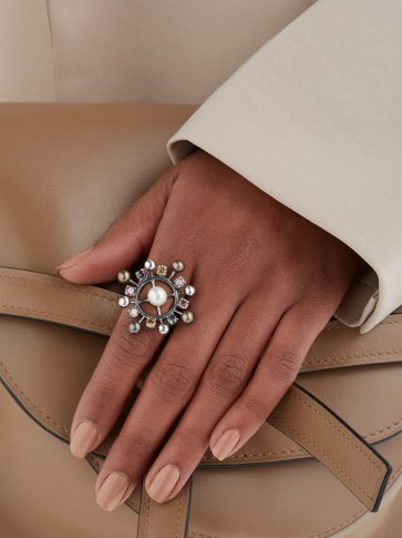 BOTTEGA VENETA Pearl and crystal-embellished ring ~ statement accessory