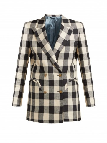 BLAZÉ MILANO Pequod double-breasted check linen blazer in black and white / monochrome checked jackets