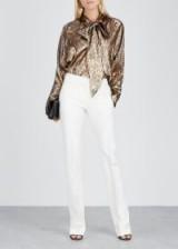 PETAR PETROV Brook oversized lamé blouse ~ effortless glamour ~ metallic pussy bow shirts