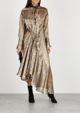 PETAR PETROV Dellar silk-blend lamé shirt dress ~ asymmetric gold and silver-blend metallic dresses