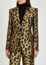 PETAR PETROV Justin gold leopard-jacquard blazer ~ glamorous animal print jacket