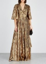 PETER PILOTTO Gold lamé-striped silk-blend gown – luxe evening gowns