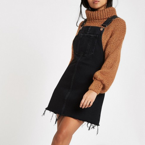 River Island Petite black frayed hem denim dungaree dress