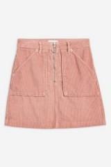 TOPSHOP PETITE Pink Corduroy Zip Skirt – cord mini