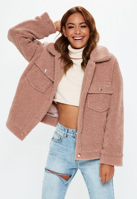 MISSGUIDED petite rose oversized borg trucker teddy jacket ~ casual style