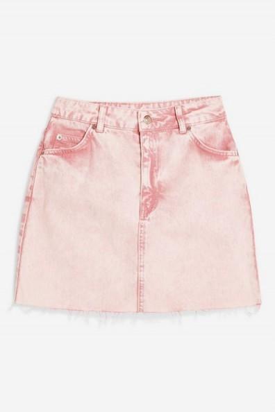 Topshop Pink Acid Wash Denim Skirt | frayed hem mini