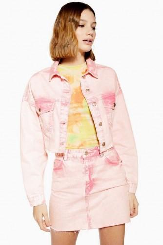 Topshop Pink Acid Wash Hacked Denim Jacket | cropped jackets