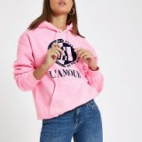RIVER ISLAND Pink fluorescent 'L'amour' print hoodie ~ slogan hoodies