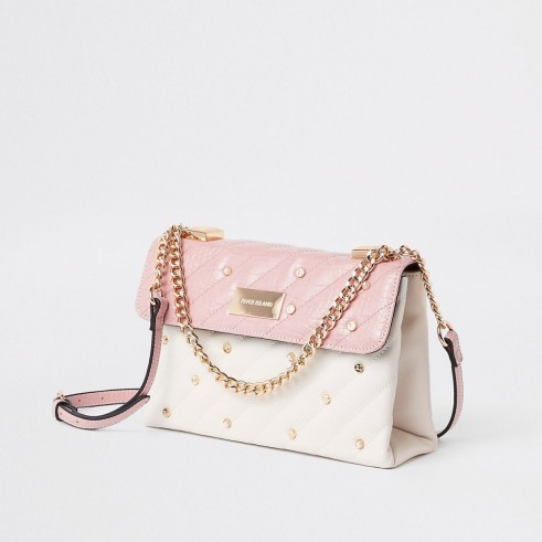 RIVER ISLAND Pink quilted pearl flap front cross body bag