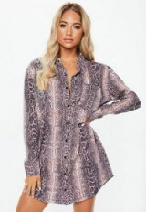 MISSGUIDED pink snake print oversized shirt dress ~ animal prints