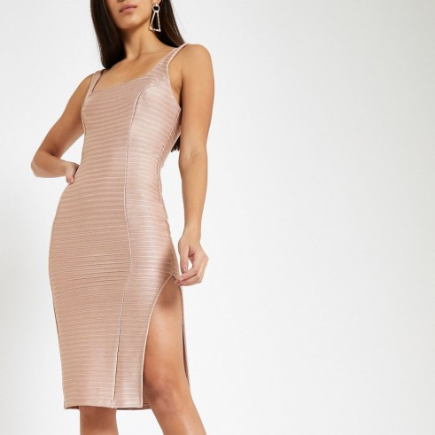 RIVER ISLAND Pink square neck bodycon midi dress ~ fitted going out dresses