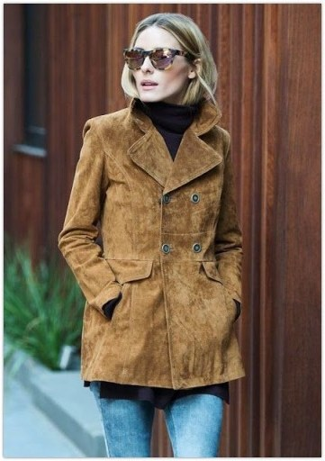 Olivia Palermo style wearing a 70s retro brown suede jacket - flipped