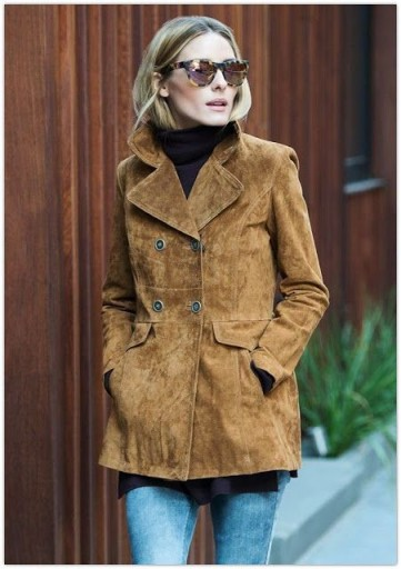 Olivia Palermo style wearing a 70s retro brown suede jacket