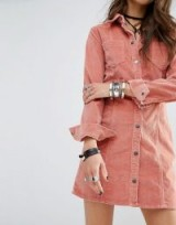 Pink cord button front shirt dress – modern corduroy fashion