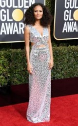 Thandie Newton in a silver Michael Kors cut-out gown at the 2019 Golden Globes / Hollywood glamour / women with style / celebrity red carpet